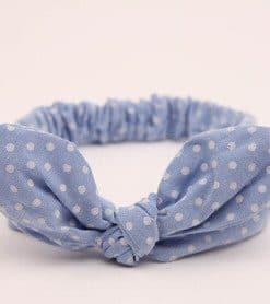 Κορδέλα μαλλιών μπλε πουά με δέσιμο