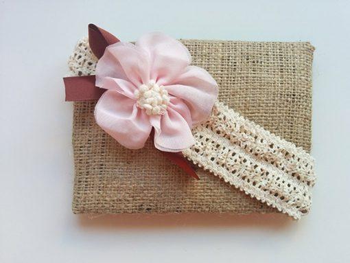 Κορδέλα - δαντέλα με ροζ λουλούδι