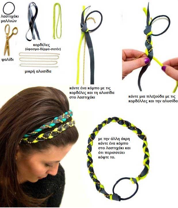 Πως να κάνετε μια κορδέλα πλεξούδα για τα μαλλιά.