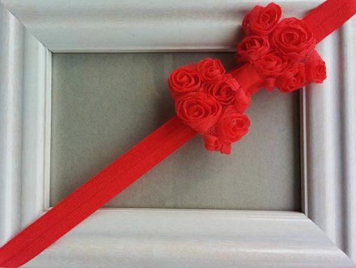 Κορδέλα κόκκινη με κόκκινο φιόγκο και μικρά τριανταφυλλάκια
