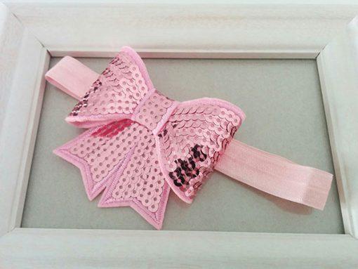 Ροζ κορδέλα με φιόγκο ροζ με πούλιες
