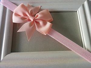 Κορδέλα ροζ με σομόν φιόγκο
