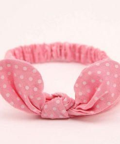 Κορδέλα μαλλιών ροζ πουά με δέσιμο