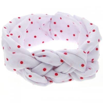 Κορδέλα μαλλιών άσπρη με κόκκινες βούλες