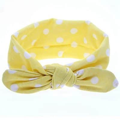 Κορδέλα μαλλιών κίτρινη με άσπρες βούλεςι