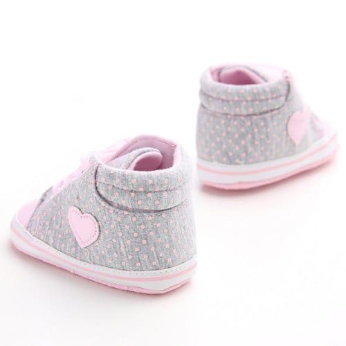 Βρεφικά-παπούτσια-αγκαλιάς-αθλητικά γκρι πουά-με-ροζ