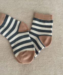 Παιδικές κάλτσες με άσπρο, καφέ και χοντρή ρίγα μπλε