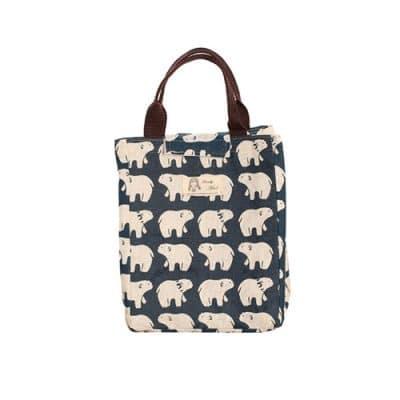 Παιδική τσάντα φαγητού με ισοθερμικό χώρισμα-μπλε με άσπρα αρκουδάκια