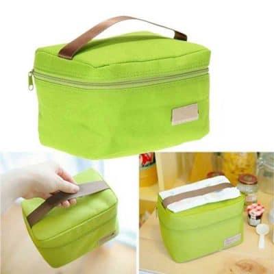 Παιδική τσάντα φαγητού πράσινη με ισοθερμικό χώρισμα