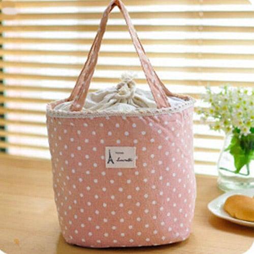 Παιδική τσάντα φαγητού με ισοθερμικό χώρισμα-ροζ πουά