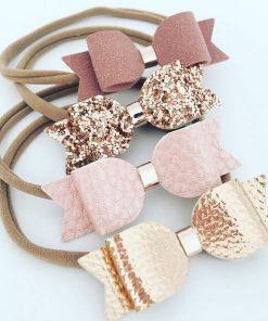 Κορδέλες μαλλιών με φιόγκους σε ροζ-χρυσό