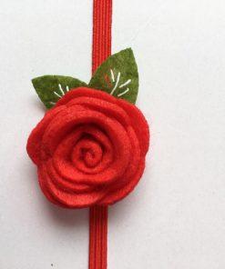 Κορδέλα μαλλιών κόκκινη με λουλουδι από τσόχα