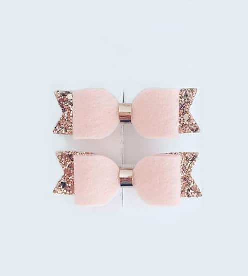 Κορδέλα μαλλιών με ροζ φιόγκο και χρυσό γκλίτερ