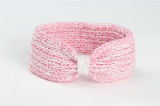 πλεκτή κορδέλα μαλλιών ασπρη με ροζ