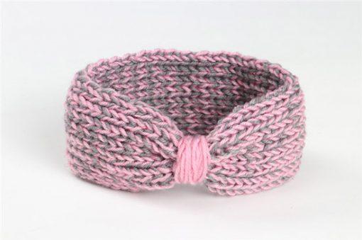 πλεκτή κορδέλα μαλλιών γκρι με ροζ
