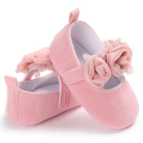 Βρεφικά παπουτσια αγκαλιας ροζ με μπαρετα