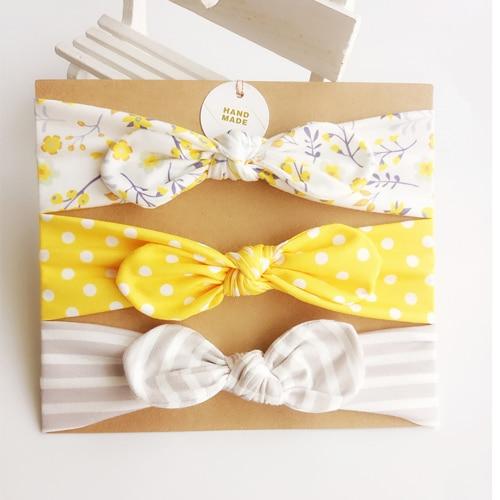 Υφασματινες κορδελες μαλλιων για μωρα κιτρινο, γκρι