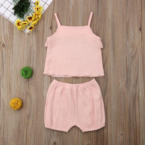 Βρεφικό σετ μπλούζα- σορτσάκι σε απαλό ροζ
