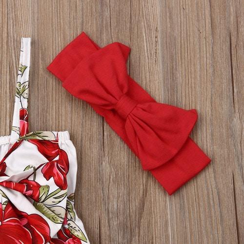 Βρεφικό φορμάκι φλοραλ με ασορτί κόκκινη κορδέλα1