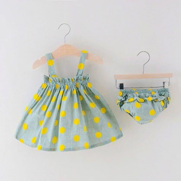 Βρεφικό φορεμα με ασορτί βρακάκι πράσινο με κίτρινο